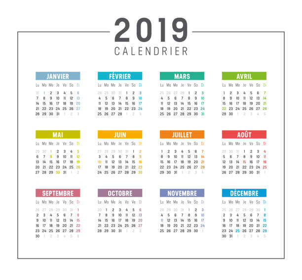 Year 2019 French calendar Year 2019 colorful simple calendar, in French language, on white background. Vector template french language stock illustrations