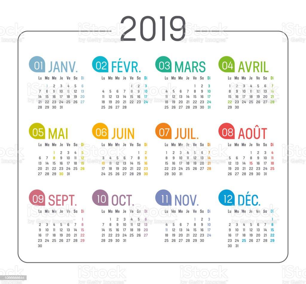 Calendrier Francais 2019.Calendrier Francais Annee 2019 Vecteurs Libres De Droits Et Plus D Images Vectorielles De 2019