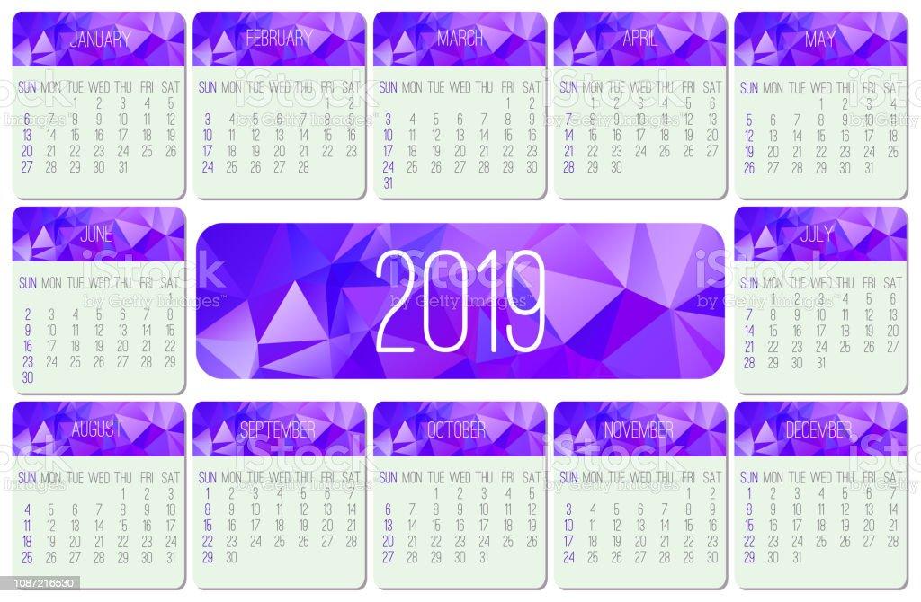 Calendario 216.Ilustracion De Calendario Mensual Del Ano 2019 Y Mas