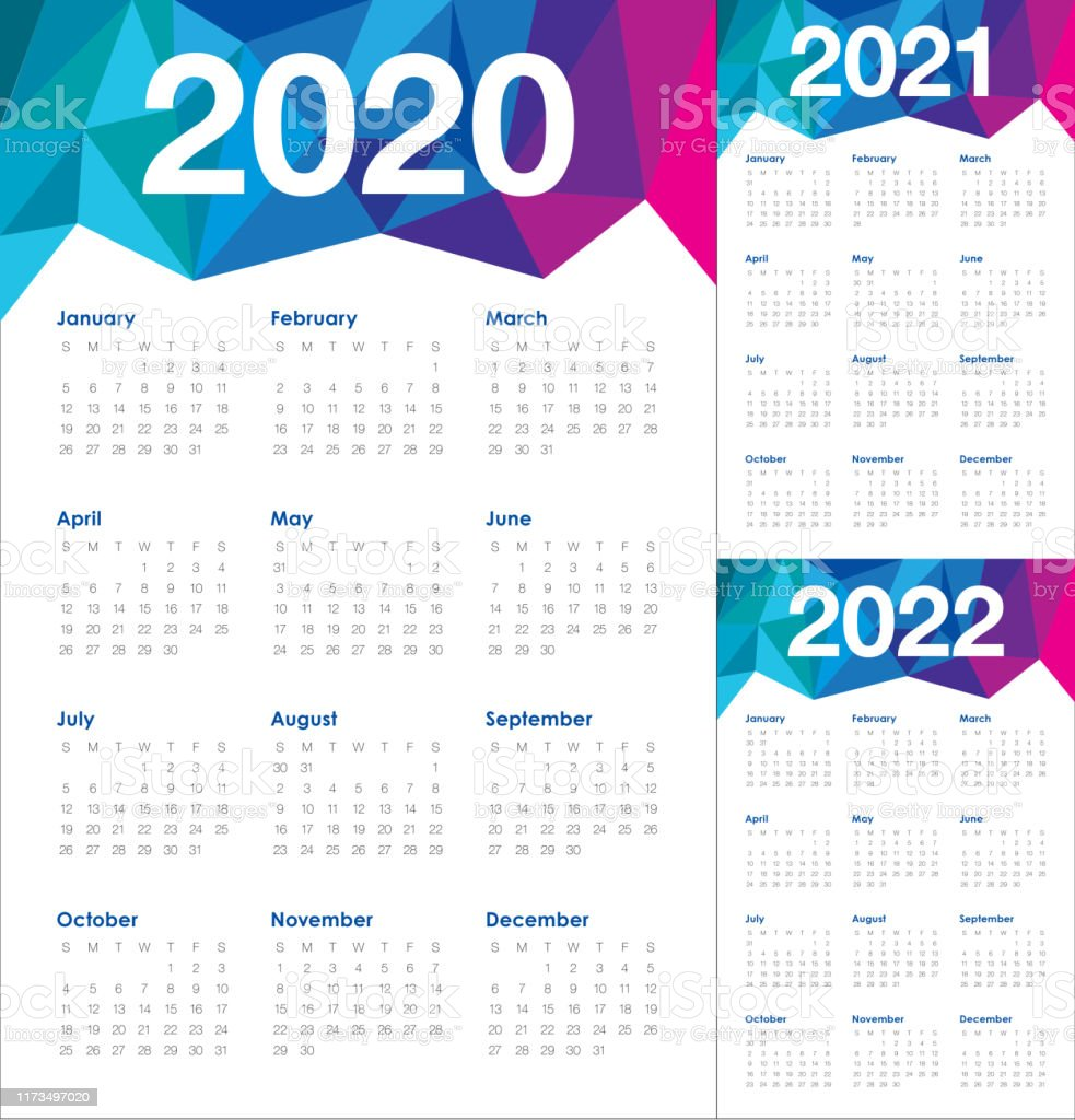 Jahr 2020 2021 2022 Kalender Vektordesignvorlage Stock ...