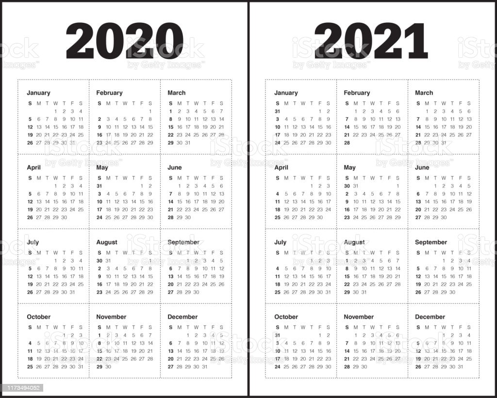 Year 2020 2021 Calendar Vector Design Template Stock ...