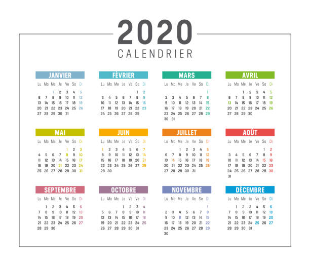 Year 2020 calendar in French Colorful year 2020 calendar isolated, in French language, on white background. Vector template. french language stock illustrations