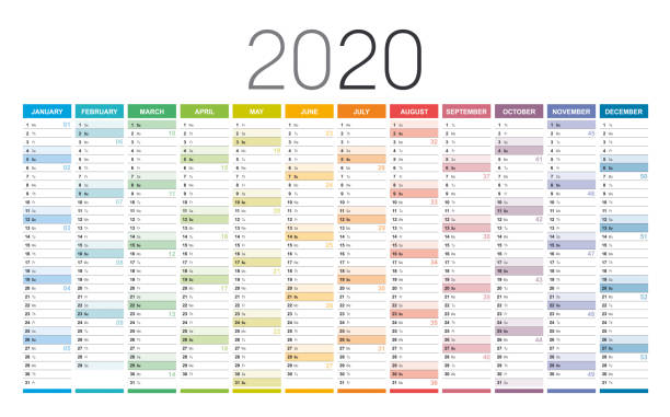 Year 2020 calendar Year 2020 colorful wall calendar, with weeks numbers, on white background. Vector template. agenda stock illustrations