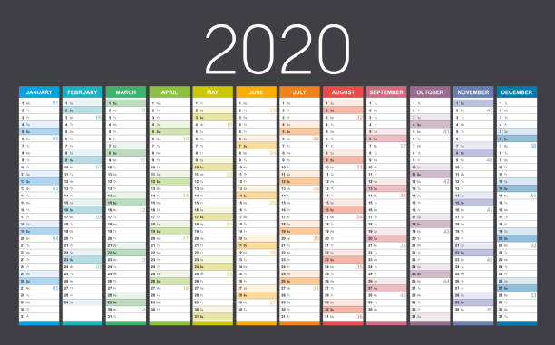 Year 2020 calendar Year 2020 colorful wall calendar, with weeks numbers, on black background. Vector template. french language stock illustrations