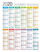Year 2020 colorful calendar, in French language, on white background. Vector template