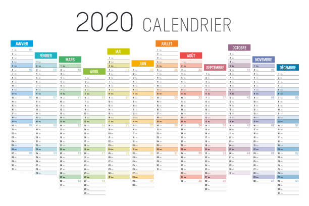Year 2020 French colorful calendar Year 2020 colorful calendar, in French language, on white background. Vector template. french language stock illustrations