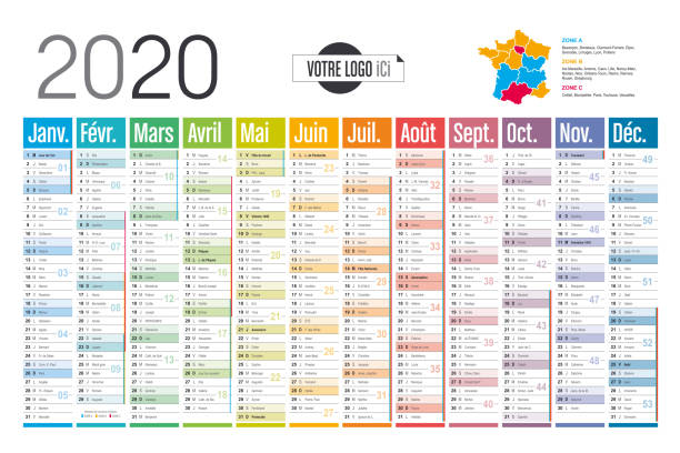 Year 2020 French colorful calendar Year 2020 colorful wall calendar, in French language, on white background. Vector template french language stock illustrations