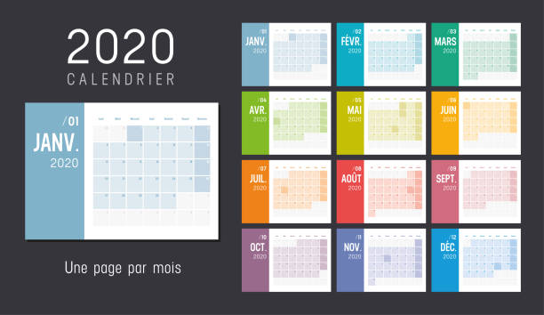 Year 2020 French monthly calendar Year 2020 colorful monthly calendar, in French language, on black background. Vector template. french language stock illustrations