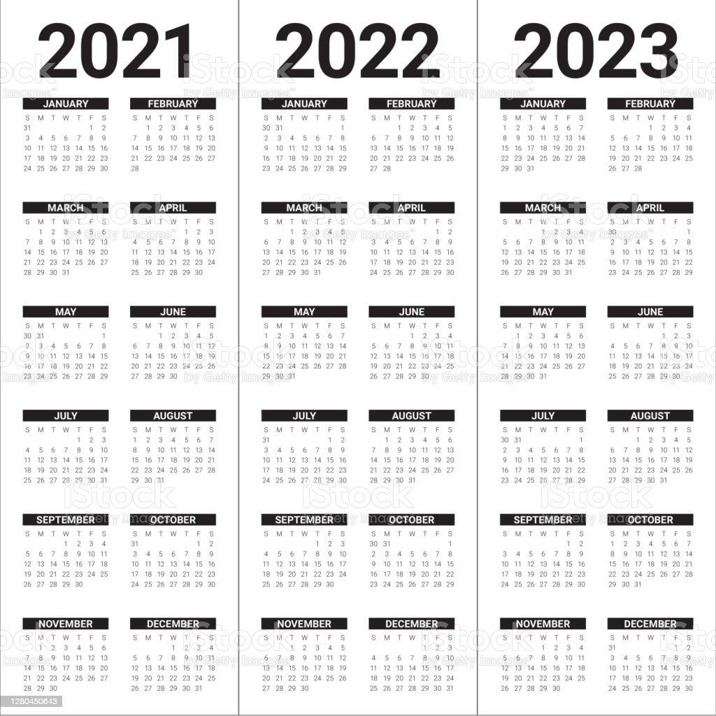 Calendar 2022 2023.Year 2021 2022 2023 Calendar Vector Design Template Stock Illustration Download Image Now Istock
