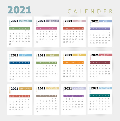 Year 2021  calendar vector design template, simple and clean design. stock illustration