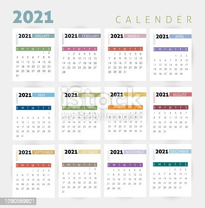 istock Year 2021  calendar vector design template, simple and clean design. stock illustration 1290589921