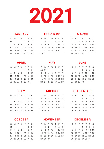 Year 2021 calendar vector design template