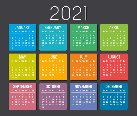 Year 2021 calendar vector template