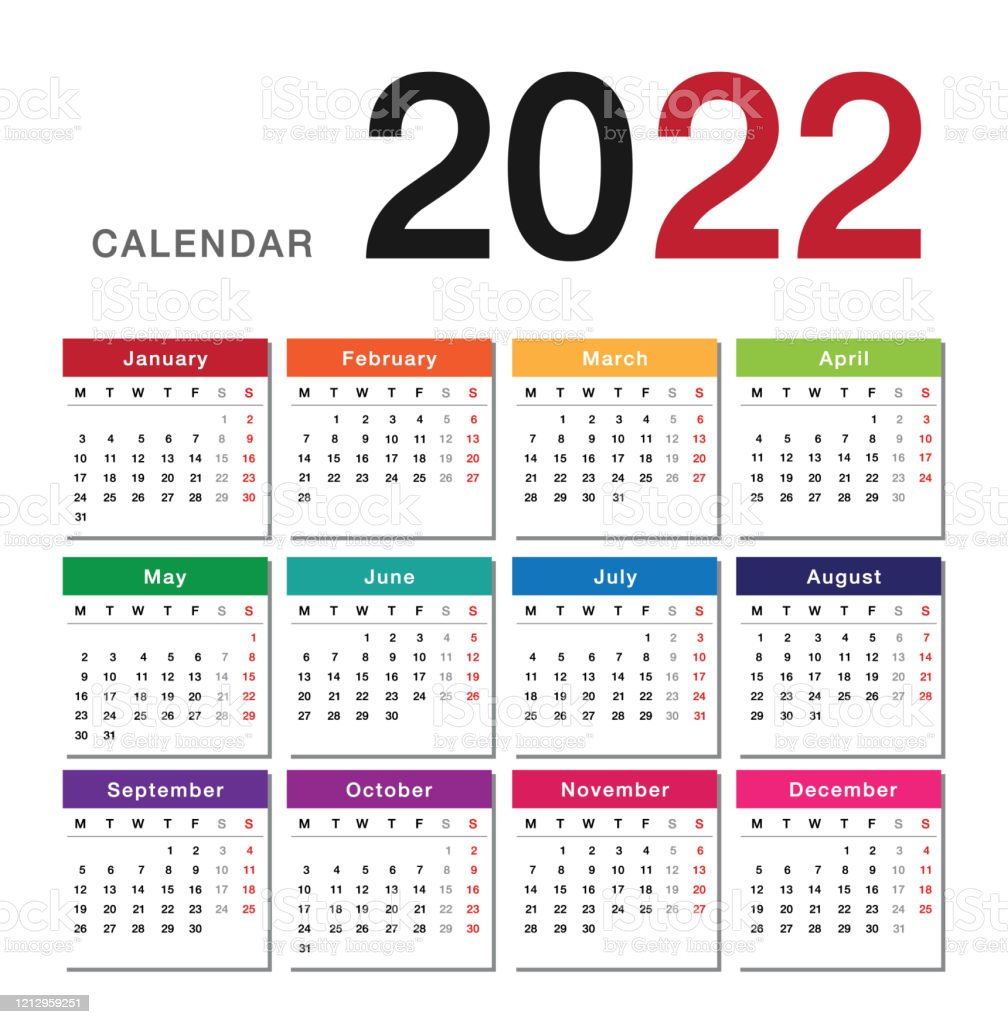 2022 Calendar Images.Year 2022 Calendar Horizontal Vector Design Template Simple And Clean Design Calendar For 2022 On White Background For Organization And Business Week Starts Monday Stock Illustration Download Image Now Istock