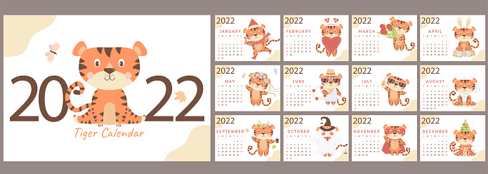 Year 2022 Calendar Template. A set of 12 pages and a cover with a cute tiger. Year of the Tiger in the Chinese or Eastern calendar. Vector illustration. Stationery, design, print and decor