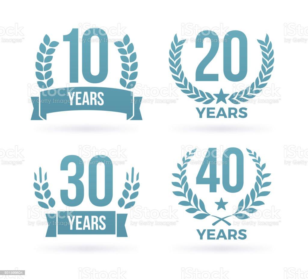 Emblemas de prêmio de aniversário ano - ilustração de arte em vetor
