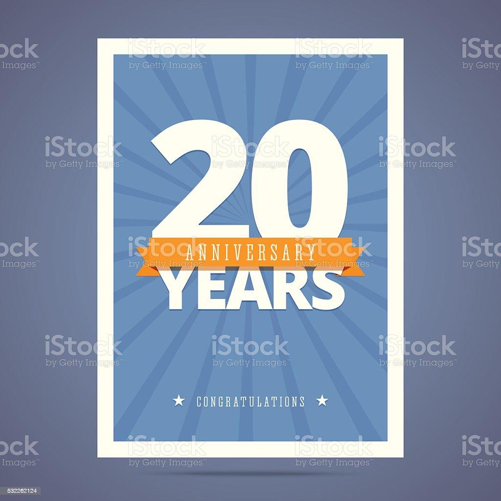 20 Jahre Jubiläum-Karte, poster-Vorlage. – Vektorgrafik