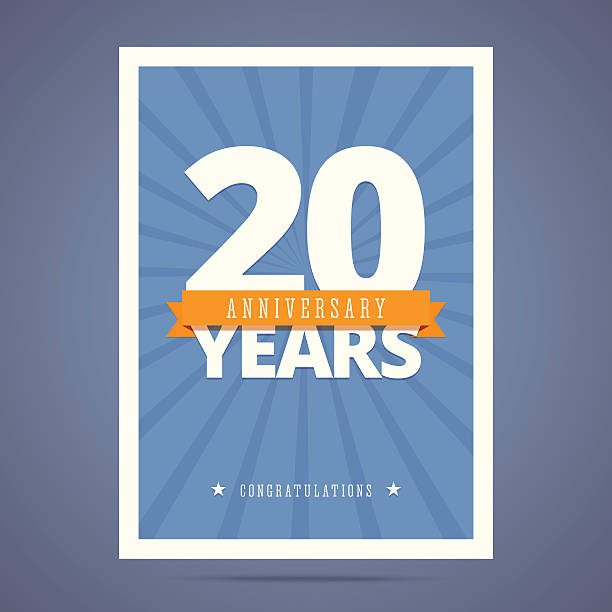 20 year anniversary card, poster template. 20 year anniversary card, poster template. Vector illustration in flat, retro style. 20 24 years stock illustrations