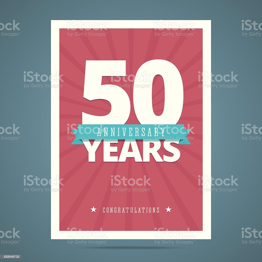 50 year anniversary card vector art illustration