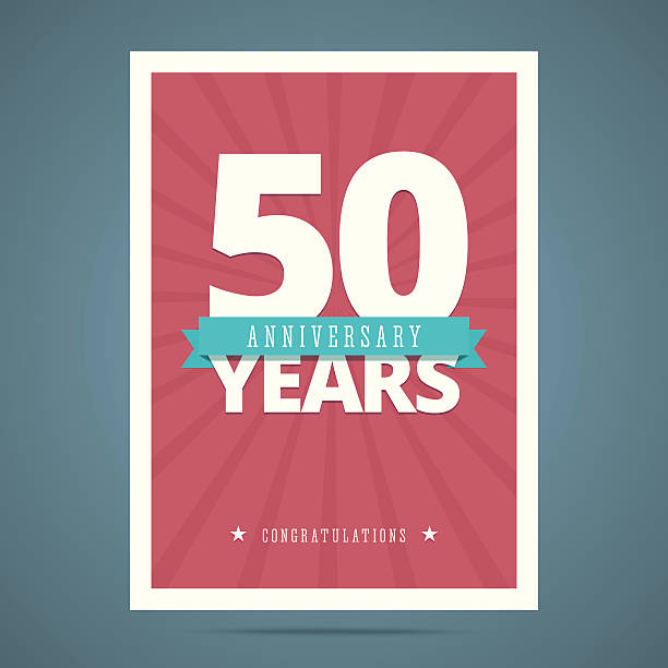 Cartão de Aniversário de 50 anos - ilustração de arte em vetor