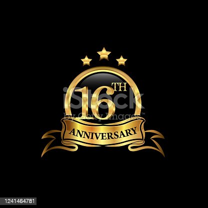 16th anniversary design logotype golden color with ring and gold ribbon for anniversary celebration. EPS10
