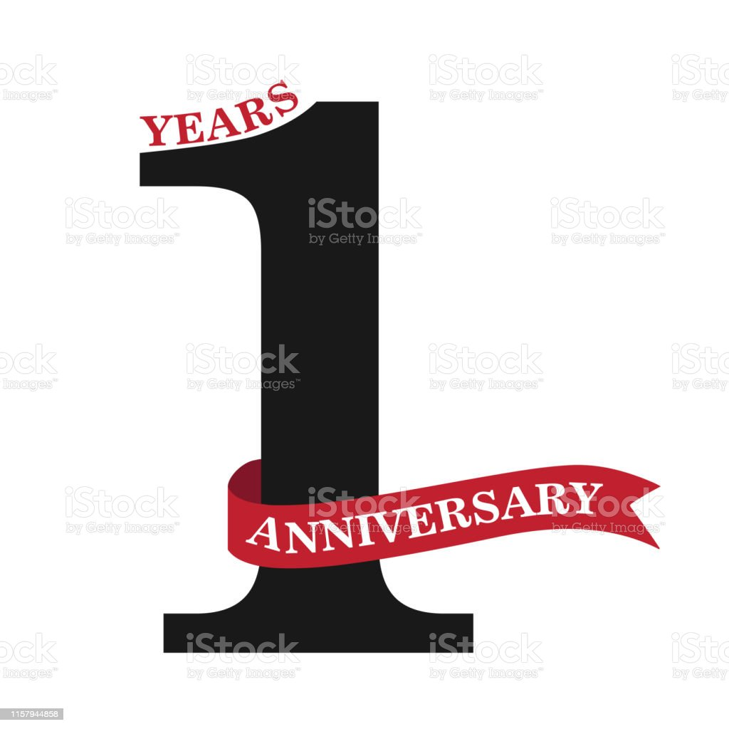 1 year anniversary celebration. . Anniversary icon or label. one year...
