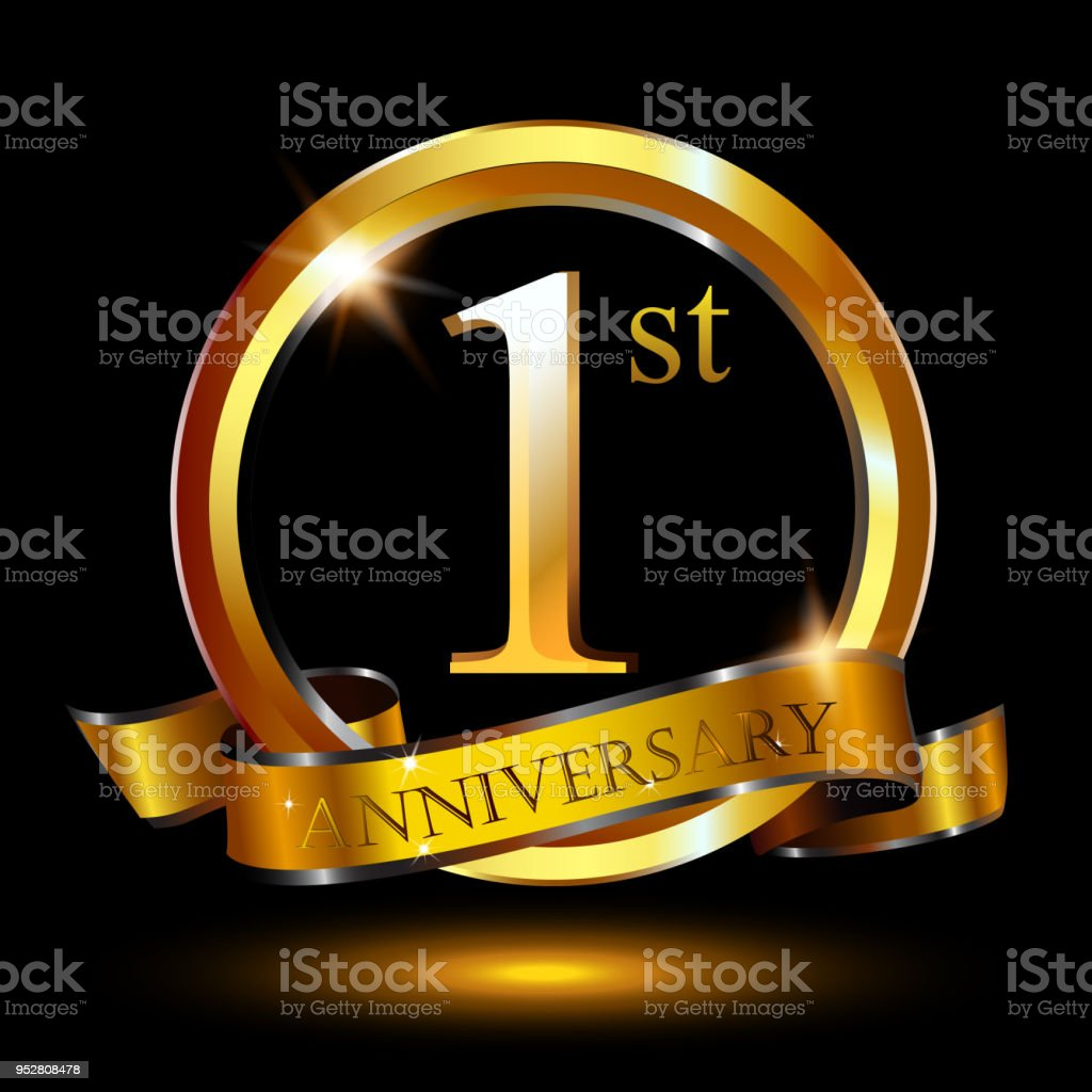 1 year anniversary celebration anniversary logo with ring and 1 year anniversary celebration anniversary logo with ring and elegance golden color isolated on black stopboris Image collections