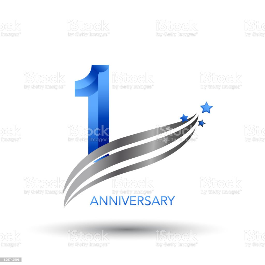 1 Year Anniversary Celebration Design vector art illustration