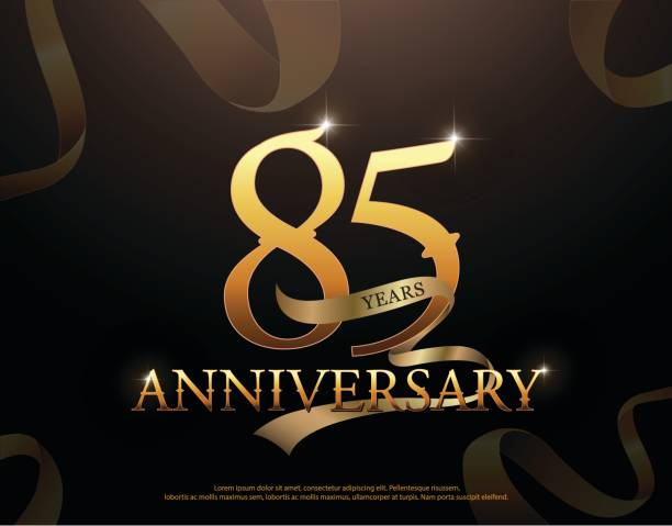85 year anniversary celebration logotype template. 85th logo with ribbons on black background - oscars stock illustrations, clip art, cartoons, & icons