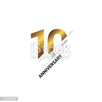 istock 10 year anniversary celebration template design 1325923507