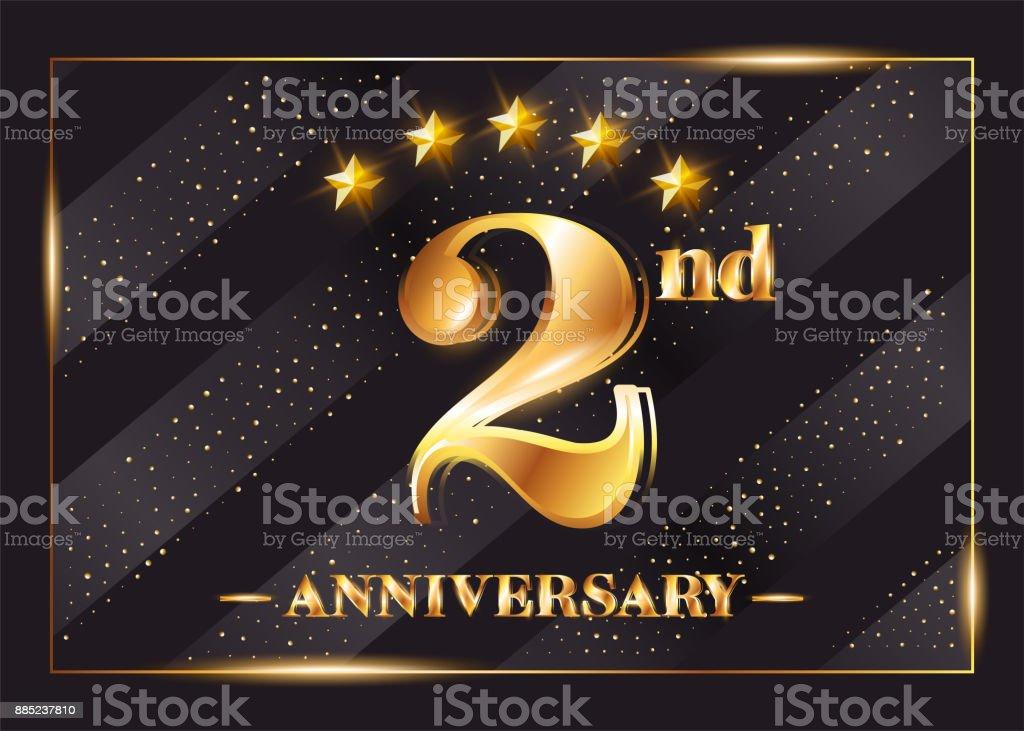 Ilustración de 2 Años Aniversario Celebración Vector Logo 2 º ...