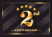 2 Year Anniversary Celebration Vector Logo. 2nd Anniversary Gold Icon with Stars and Frame. Luxury Shiny Design for Greeting Card, Invitation, Congratulation Card. Isolated on Black Background.