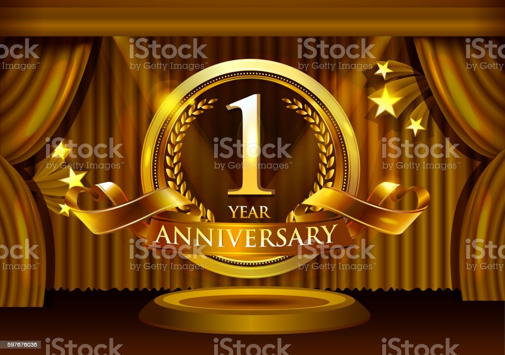 1 year anniversary celebration with curtain background vector art illustration