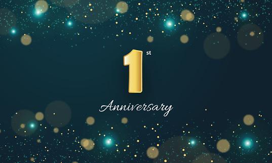1 Year Anniversary golden stock illustration