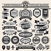 100 year anniversary hand-drawn royalty free vector background on paper. This image depicts a paper background with multiple anniversary announcement designs. The beige paper background serves a perfect backdrop for making the anniversary announcements look authentic and elegant. The anniversary hand-drawn design are unique and intricate in design and are ideal for your anniversary design announcements.
