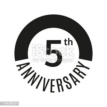 istock 5 year anniversary icon. 5th celebration template for banner, invitation, birthday. Vector illustration. 1194292241