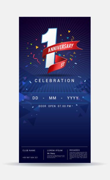 1 year anniversary invitation card - shiny gold celebration template design ,vector illustration vector art illustration