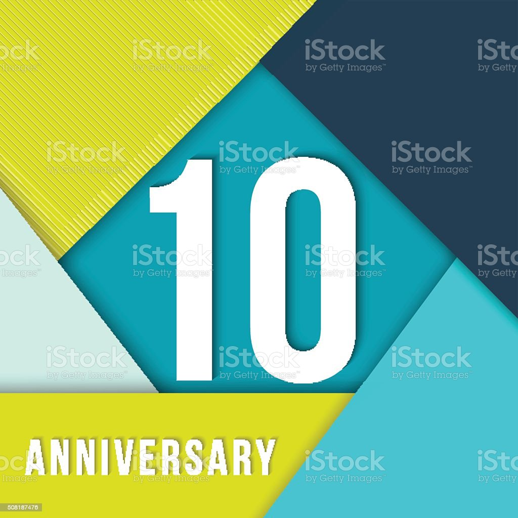 10 year anniversary material design template royalty-free 10 year anniversary material design template stock illustration - download image now