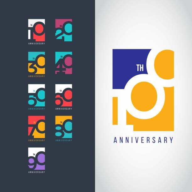 bildbanksillustrationer, clip art samt tecknat material och ikoner med 100 års jubileum set 10 20 30 40 50 60 70 80 90 vektor mall design illustration - årsdag