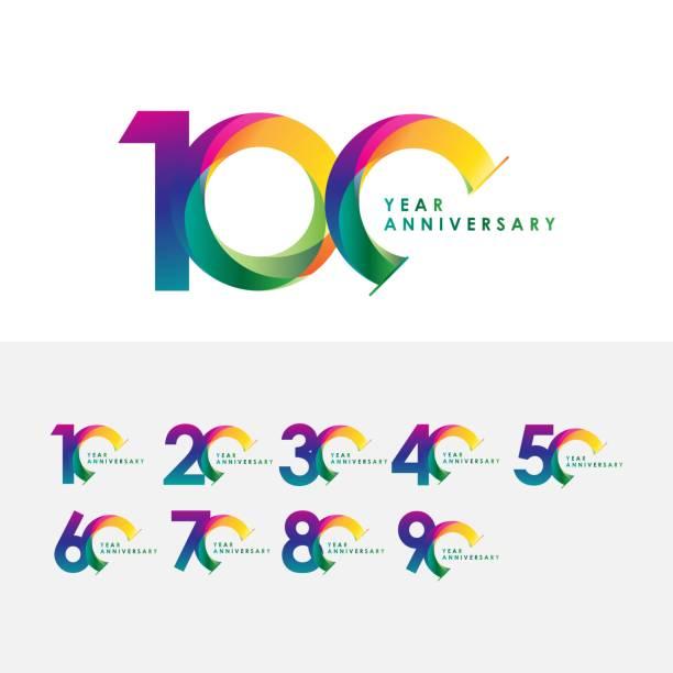 bildbanksillustrationer, clip art samt tecknat material och ikoner med 100 års jubileum set vektor mall design illustration - årsdag