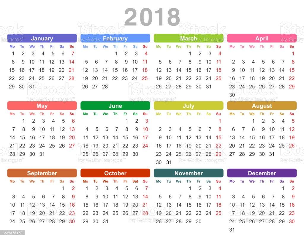 2018 Jahr Jährliche Kalender Stock Vektor Art und mehr Bilder von ...