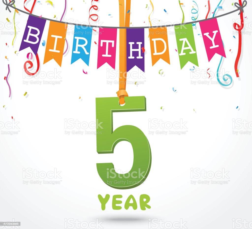 5 year birthday celebration greeting card design stock vector art 5 year birthday celebration greeting card design royalty free 5 year birthday celebration greeting card kristyandbryce Gallery