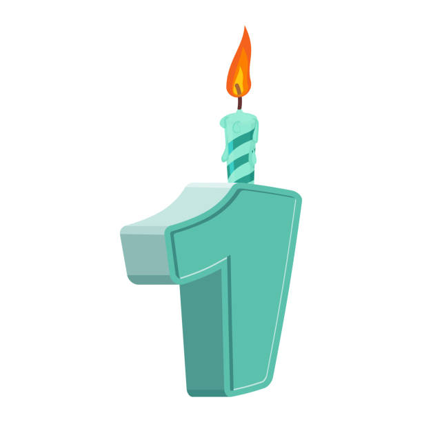 1 year birthday. Figures with festive candle for holiday cake vector art illustration