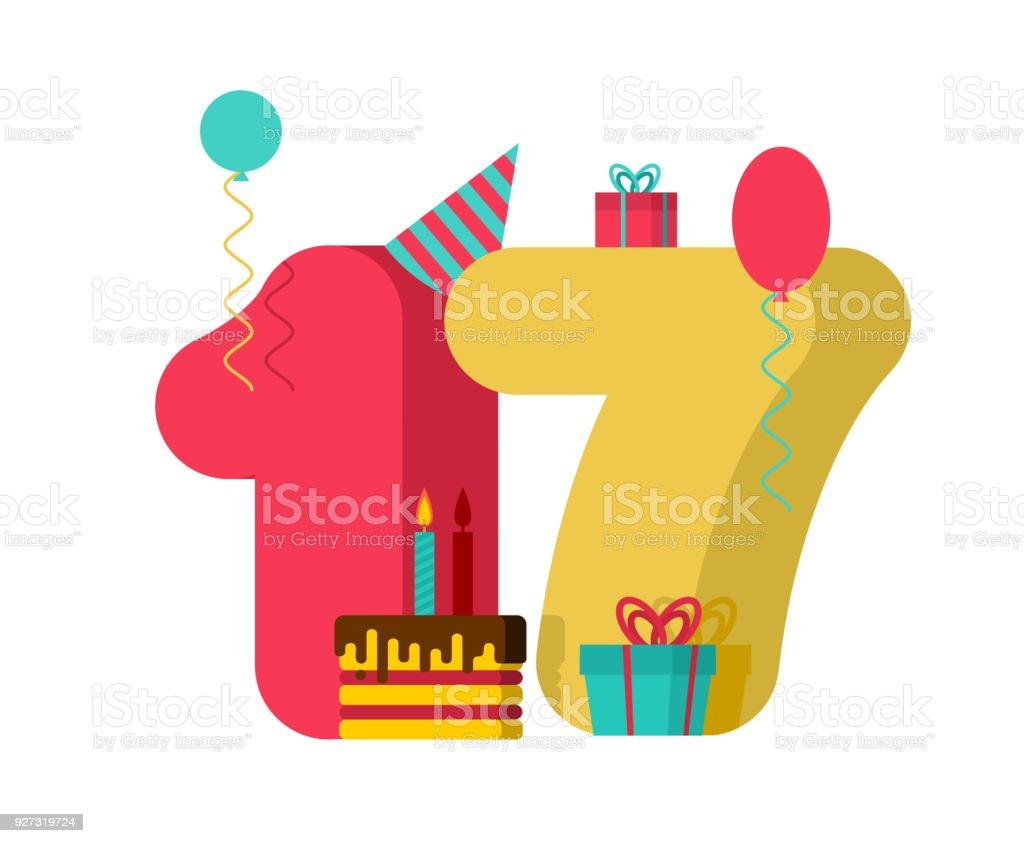 Cartel De Cumpleaños De 17 Años 17 Plantilla Tarjeta De Felicitación ...
