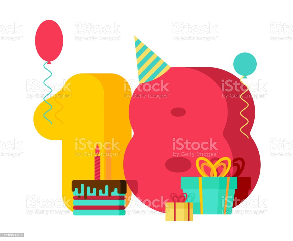 18 year Birthday sign. 18th Template greeting card anniversary celebration. eighteen number and festive piece of cake with candle. Balloon and Gift box.