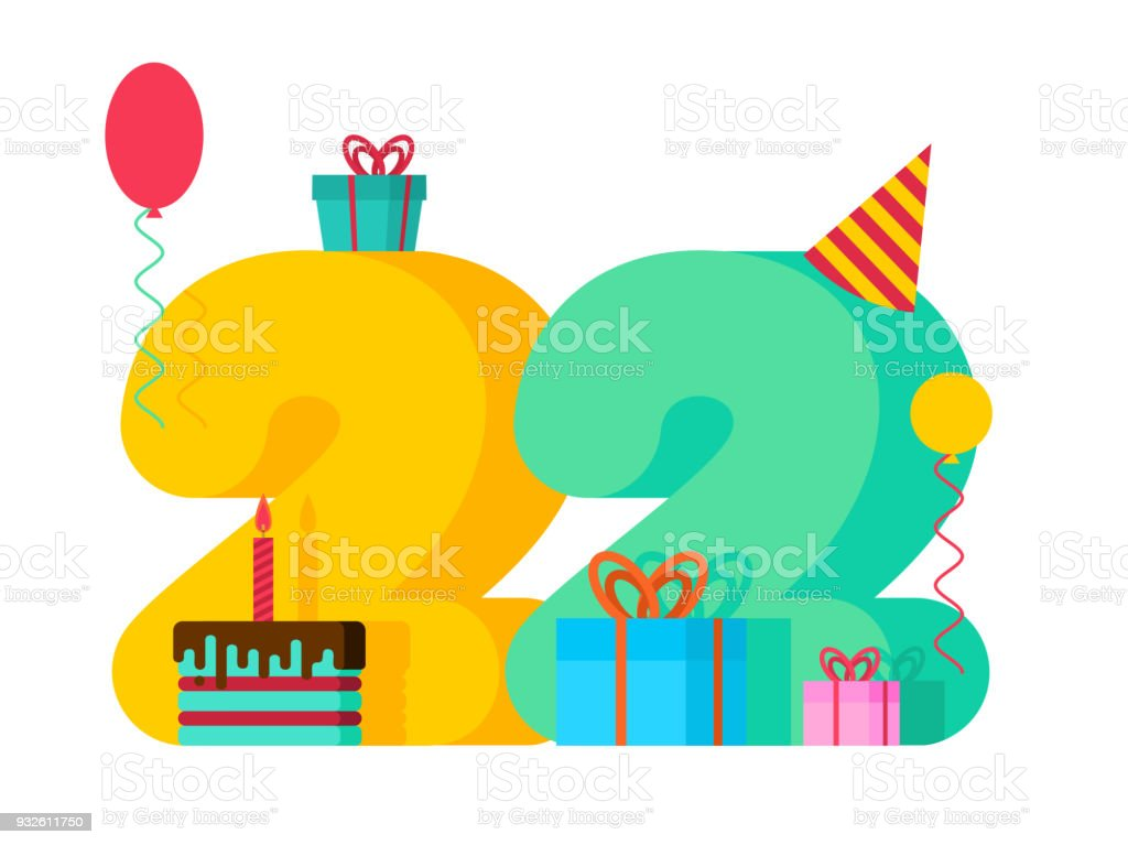 22 year birthday sign 22th template greeting card anniversary