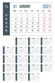 2021 year blue calendar. Month countdown page set. Day, week. Date and schedule. Printable version template simple design. Corporate and business office personal classic organizer in English