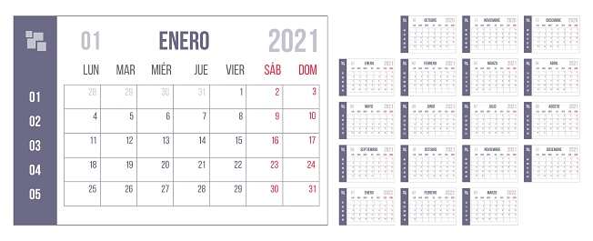 Year blue Spanish calendar personal organizer set