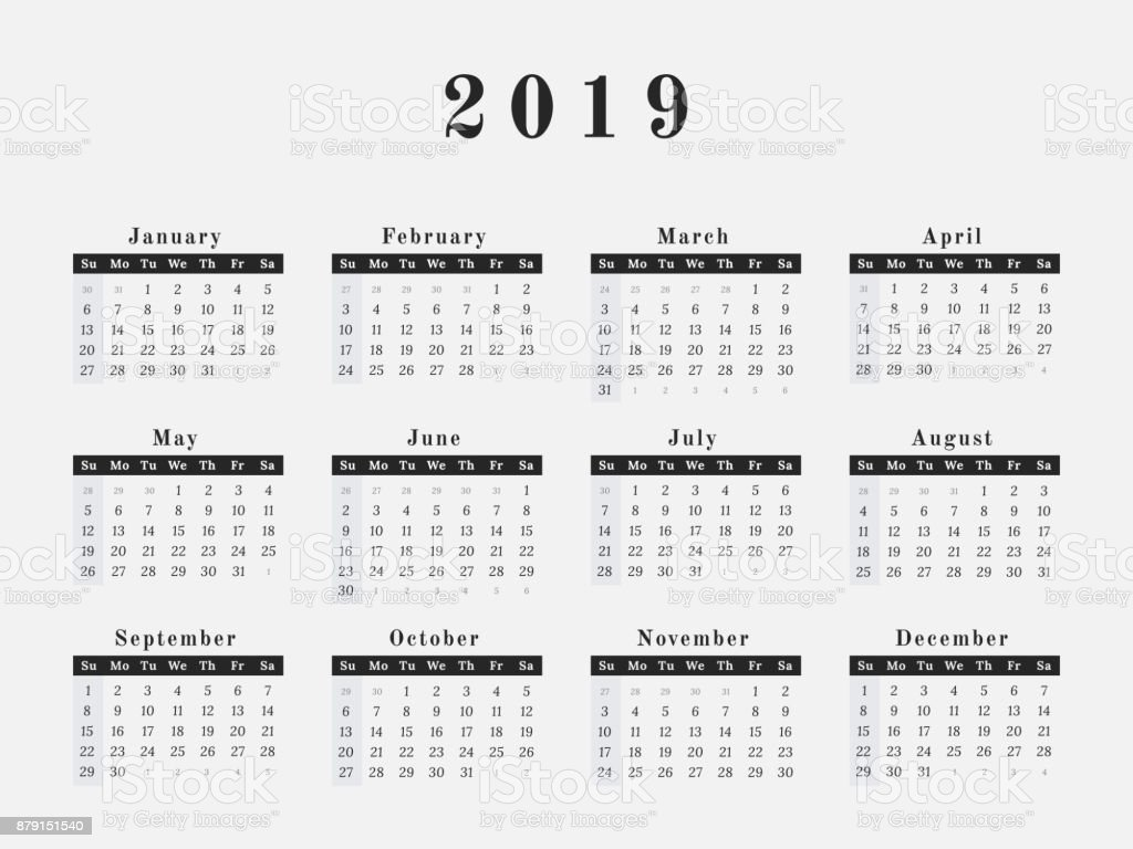 2019 year calendar horizontal design royalty free 2019 year calendar horizontal design stock vector art