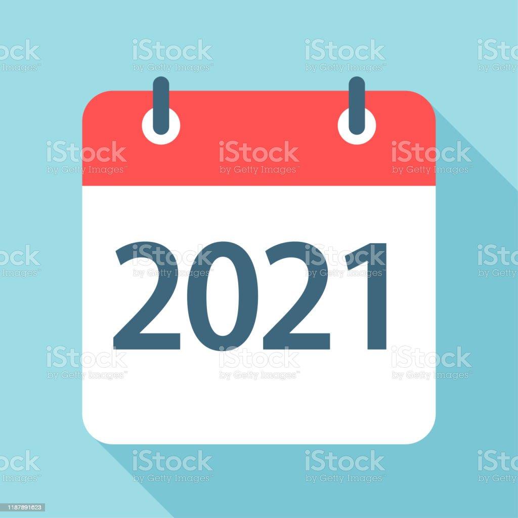 2021 Year Calendar Leaf Icon Vector Illustration Stock